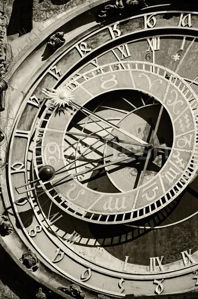 Csillagászati óra Prága felirat naptár idő Stock fotó © Sarkao