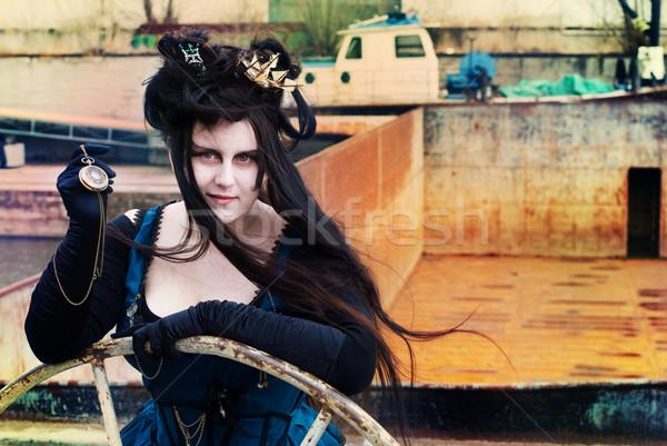 Steampunk model kadın güzellik genç karanlık Stok fotoğraf © Sarkao