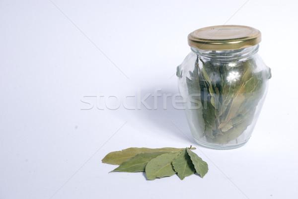 Babérlevél üveg bögre természetes száraz hozzávalók Stock fotó © Sarkao