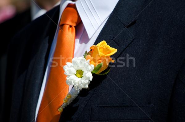 Esküvő virág szeretet rózsa menyasszony fekete Stock fotó © Sarkao