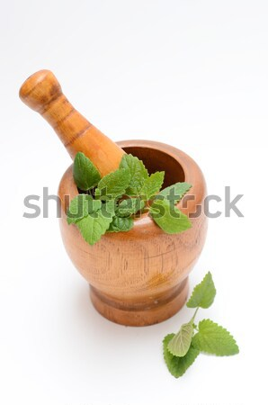 wooden mortar with melissa leaves Stock photo © Sarkao