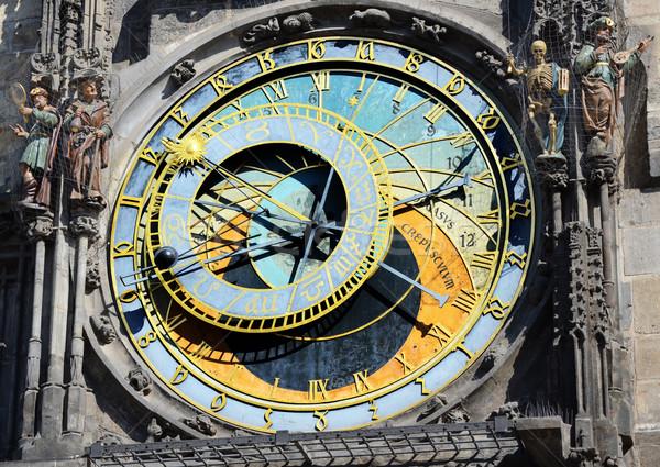 Csillagászati óra Prága város felirat idő Stock fotó © Sarkao