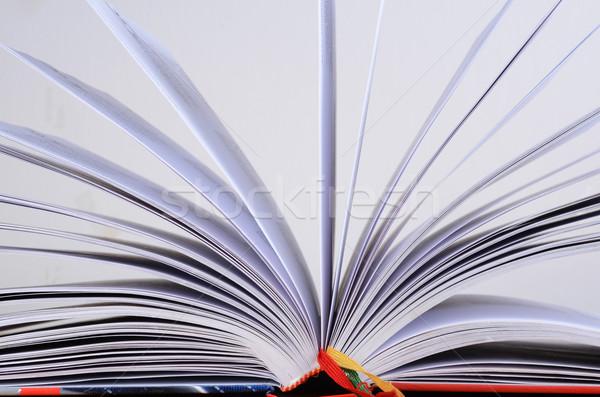 Nyitott könyv könyv olvas fekete papírok lap Stock fotó © Sarkao