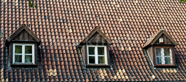 old roof with attic windows Stock photo © Sarkao
