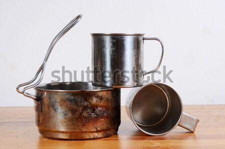 Kempingezés konyhai felszerelés fém acél kirándulás edény Stock fotó © Sarkao