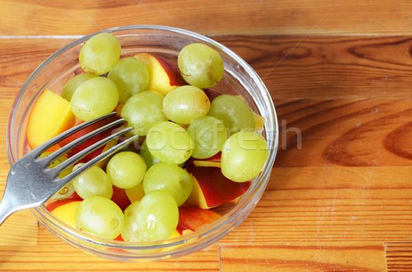 フルーツサラダ フルーツ ガラス 朝食 フォーク ブドウ ストックフォト © Sarkao