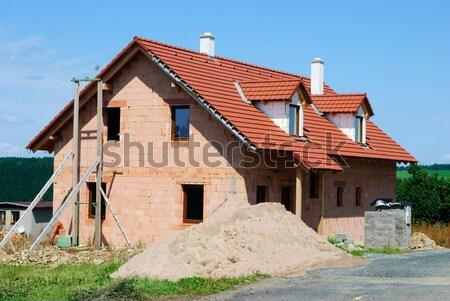Ház építkezés tégla ablakok tető Stock fotó © Sarkao