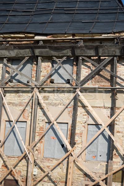 Oude huis huis gebouw muur bakstenen Stockfoto © Sarkao
