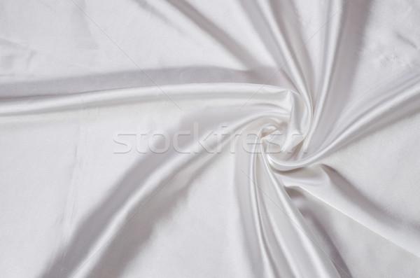 Stock photo: white silk satin fabric