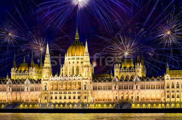 Fireworks and Hungarian parliament, Budapest Stock photo © Sarkao