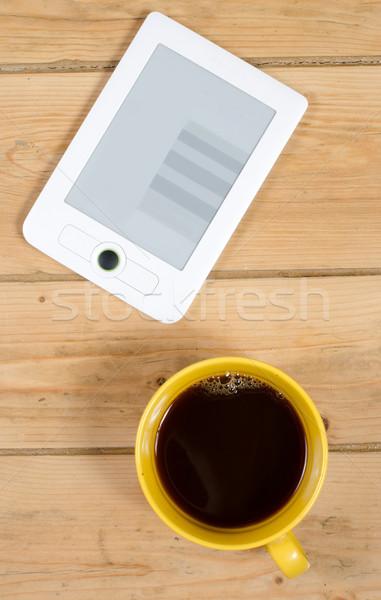 電子ブック コーヒー 読む カップ 黄色 電子 ストックフォト © Sarkao