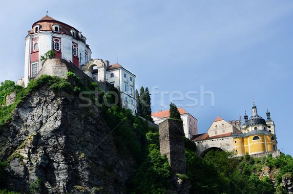 Сток-фото: замок · Чешская · республика · Церкви · синий · рок · архитектура