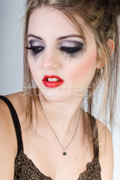 Vonzó szomorú nő gyönyörű lány portré Stock fotó © Sarkao