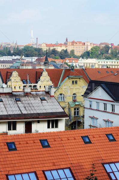 Prága épület város piros házak ablakok Stock fotó © Sarkao