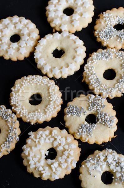 Karácsony édesség fehér édes ezüst sütik Stock fotó © Sarkao