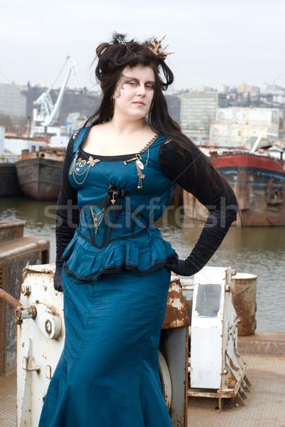 стимпанк модель девушки моде лодка судно Сток-фото © Sarkao