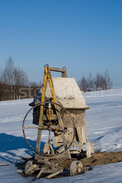 çimento mikser kış endüstriyel kirli Stok fotoğraf © Sarkao