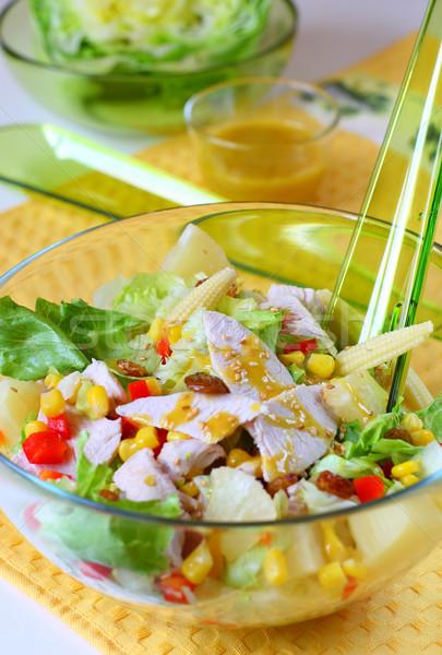 Tavuk salatası salata tavuk mısır sos Stok fotoğraf © sarsmis