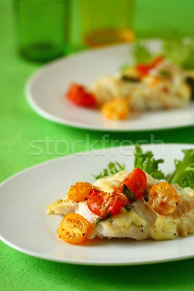 рыбы филе томатный сыра зеленый Сток-фото © sarsmis