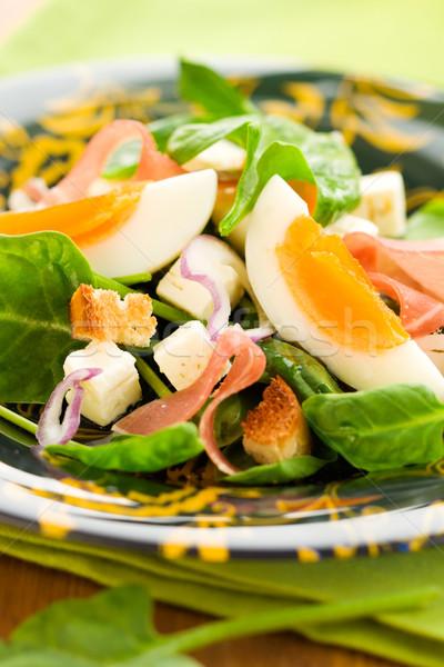 Saláta sonka tavasz zöld kenyér sajt Stock fotó © sarsmis