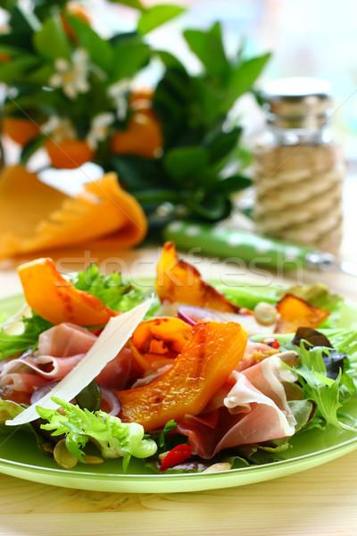 Abóbora salada prosciutto parmesão queijo prato Foto stock © sarsmis