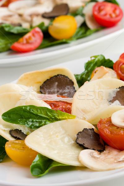 Pasta champignons voedsel groene kaas Rood Stockfoto © sarsmis