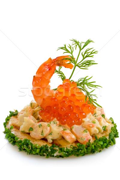 Garnalen salade Rood kaviaar smakelijk voedsel Stockfoto © sarsmis