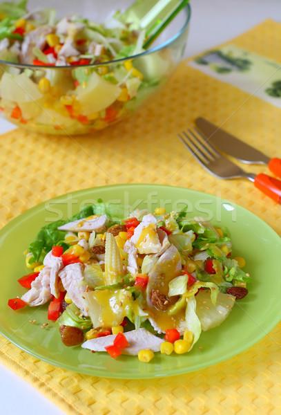 Ensalada de pollo ensalada pollo maíz salsa Foto stock © sarsmis