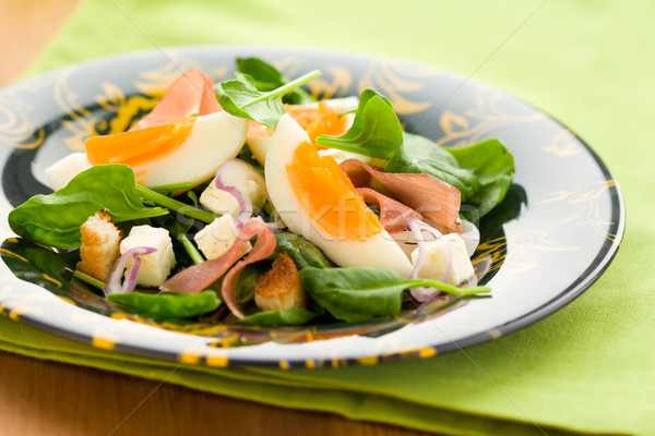 spring salad with spinach,egg,ham and feta Stock photo © sarsmis