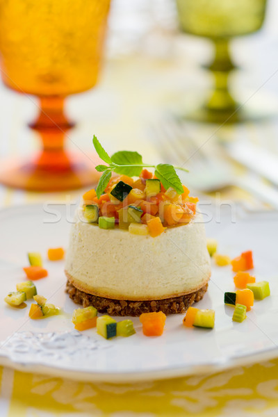 ロクフォール チーズケーキ 野菜 チーズ ディナー プレート ストックフォト © sarsmis