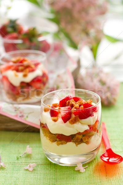 Strawberry and mascarpone trifle Stock photo © sarsmis