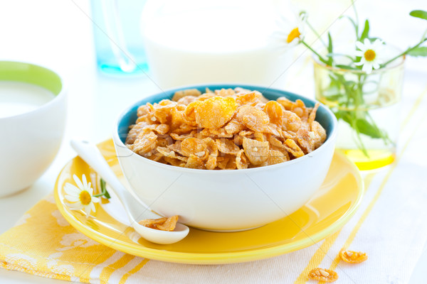 Lait bol cornflakes alimentaire liquide Photo stock © sarsmis