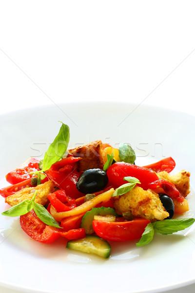 Ensalada italiano pan tomates aceitunas alimentos Foto stock © sarsmis