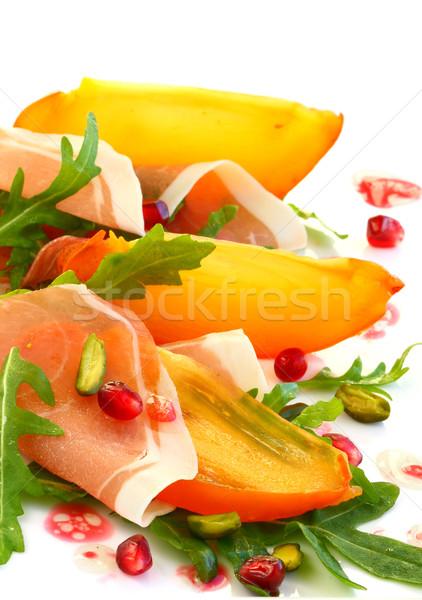 Stock fotó: Saláta · datolyaszilva · gyümölcsök · friss · diók · előétel