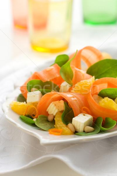 Carotte salade épinards feta orange fromages Photo stock © sarsmis