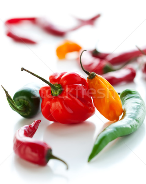 Stock photo: Mixed hot peppers