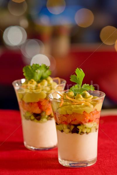 avocado,salmon and cream cheese Stock photo © sarsmis
