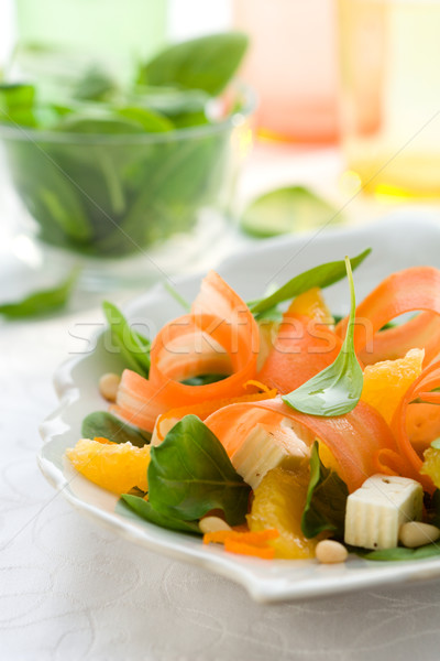 Zanahoria ensalada espinacas feta naranja Foto stock © sarsmis