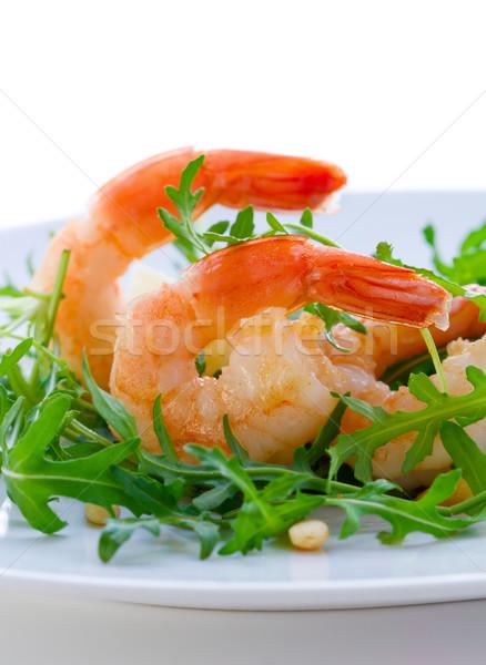 Saláta friss dió edény diéta tengeri hal Stock fotó © sarsmis