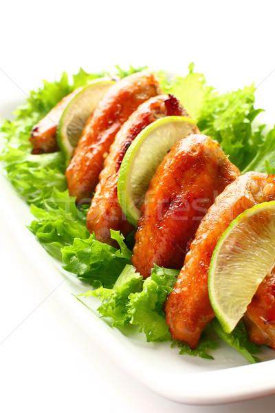 Stock fotó: Tyúk · szárnyak · pörkölt · saláta · étel · fűszer