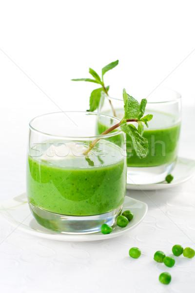Yeşil çorba krem nane gıda akşam yemeği Stok fotoğraf © sarsmis
