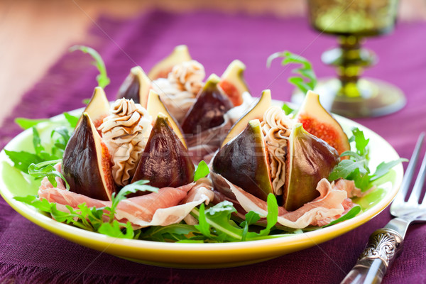 Figs with prosciutto,cheese and balsamic vinegar  Stock photo © sarsmis