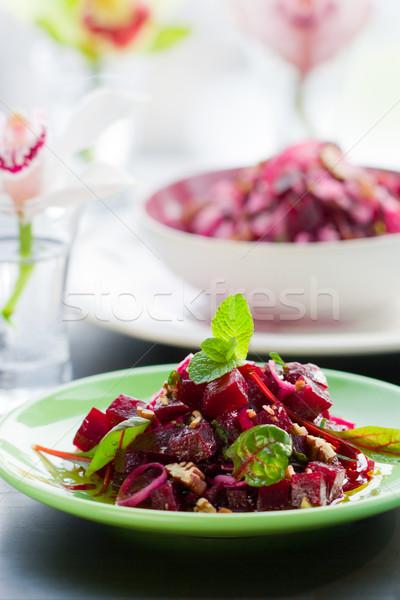 Cékla saláta vacsora ebéd dió menta Stock fotó © sarsmis