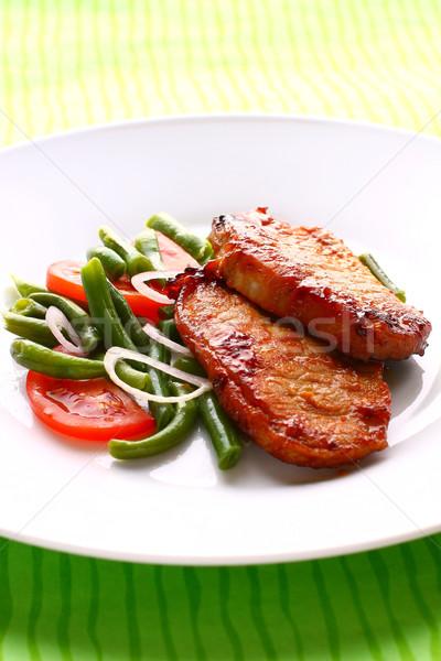 свинина зеленая фасоль помидоров мяса томатный растительное Сток-фото © sarsmis