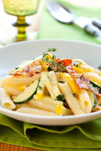 Courgette pâtes sauce dîner déjeuner légumes Photo stock © sarsmis