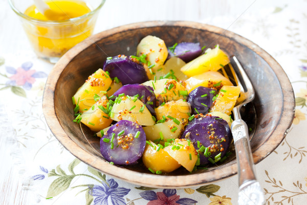 Salade de pommes de terre moutarde pansement alimentaire vert manger Photo stock © sarsmis