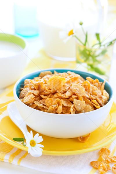 Stockfoto: Cornflakes · melk · kom · cornflakes · voedsel · vloeibare