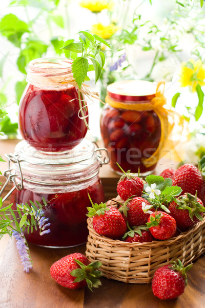 strawberry jam and fresh strawberries Stock photo © sarsmis