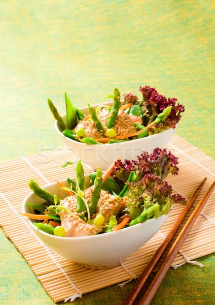 Plantaardige salade sesam tofu dressing voedsel Stockfoto © sarsmis