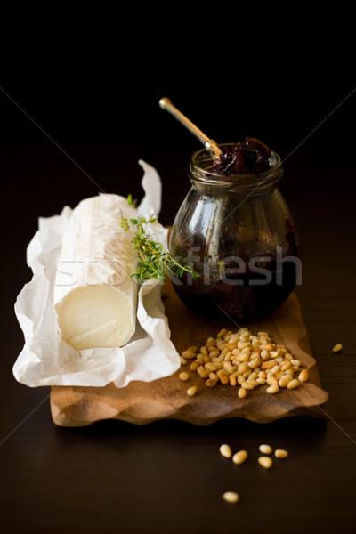 goat cheese,onion jam,pine nut and  thyme Stock photo © sarsmis